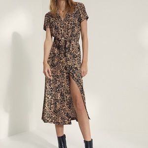 Aritzia Wilfred Leopard Shirt Dress